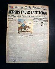Best WILLIAM HEIRENS Serial Lipstick Killer DAY OF VERDICT1946 Chicago Newspaper