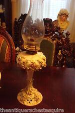 Oil Lamp, c1890s, Meissen/ Dresden encrusted flowers EAGLE  Burner