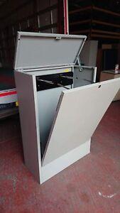 Metalico Grey AO Plan Hanger Cabinet With Lift Up Lid And Tilting Door Lockable