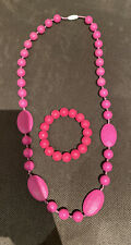 Pink Silicone Teething/Breastfeeding Necklace & Bracelet Bangle Set