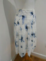 BNWT Olsen white blue pattern A line pleated skirt UK 18 NEW lined