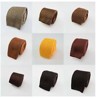 Mens Knitted  Tie Solid Plain Pattern Check Stripe Polka Skinny Knit Brown Gold