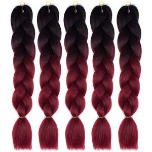 "24"" Black / Burgundy 5pcs Kanekalon Jumbo Synthetic Braiding Hair Extensions"