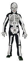 Boys Kids Skeleton Moulded Bones Halloween Fancy Dress Costume Mask and Gloves