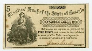 1863 5c The Planters Bank of the State of GEORGIA Note - CIVIL WAR Era