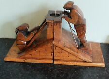 Two French early 20th century (circa 1915) wooden bookends by J.Perard