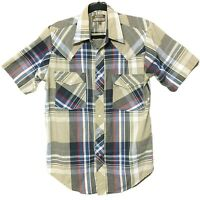 Outlaw Western Wear Pearl Snap Button Front Shirt Plaid Design Mens Size Medium