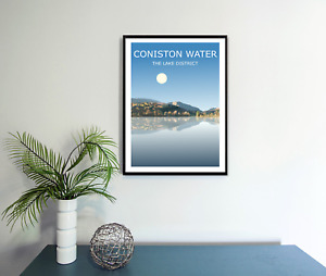 Coniston Water Art Print, The Lake District National Park Landscape,Lakes Hiking