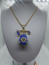Betsey Johnson Old Fashion Blue Enamel Phone Pendant Sweater Statement Chain...