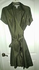 DIANE Von FURSTENBERG Dark Khaki 100% Cotton Wrap Dress sz 14