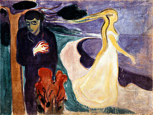 Separation by Edvard Munch A1 High Quality Canvas Print