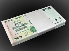 25 x Zimbabwe 50000 Dollar banknotes-uncirculated currency 1/4 bundle