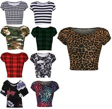 NEW LADIES WOMENS PRINT PATTERN SHORT CAP SLEEVE CROP STRETCH BELLY T-SHIRT TOPS