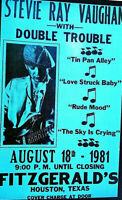 STEVIE RAY VAUGHN DOUBLE TROUBLE FITZGERALDS HOUST. 1981 2ND PRINT POSTER SCARCE