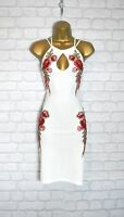 ~NAOMI~ White Floral Rose Embroidered Bodycon Evening Party Dress 8 10 12 14
