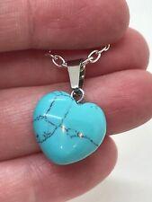 "Heart Turquoise Howlite Gem Tibetan Silver 18"" Necklace D-989"