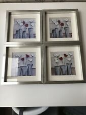 Set of 4 Silver Frames with Prints of Flowers in Vases Grey, Purple Brown Hues