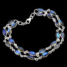 "Flashy Blue Labradorite Marquise Gemstone 925 Sterling Silver Bracelet 8.25"""