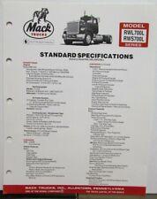 1983 Mack Model RWL700L RWS 700L Diagrams Specifications Sheet Original