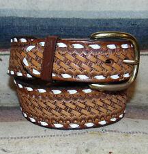 Vintage Tony Lama Buckstitch Basketweave Tooled Brown Leather Western Belt 30 Ne