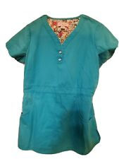 """Koi by Kathy Peterson Scrub Top size Small-Tourquoise-Chest 20.5""""/Length 26.5"""""""