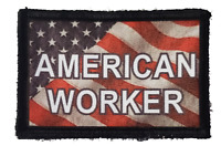 American Worker USA FLAG Morale Patch Tactical ARMY Hook Military Badge American
