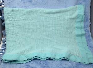 Baby Morgan Aqua Thermal Acrylic Nylon edge Crib Blanket Sweet Treasures