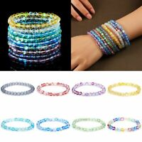 6mm Women Glass Quartz Moonstone Bracelet Matte Stretchy Beaded Bracelet Gift
