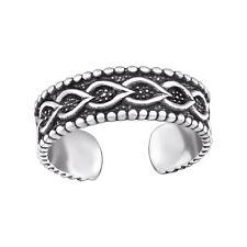 Tjs 925 Sterling Silver Toe Ring Chain Leaf Beads Adjustable Fine Body Jewellery