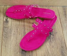 Nine West Faux Suede Cerise Pink Strappy Flats Mules Sandals, UK 6, BNWOT 9W US