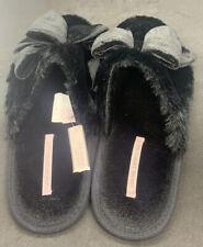 Brand New Victoria Secret Black Velvet Bow Slide Slippers Large UK 7/8 EUR 40/41