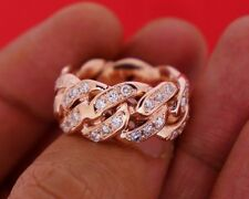 14K Rose Gold Miami Cuban Link Style Real Diamond Statement Ring 4 Carat