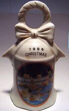 "Bell Porcelain 1986 Christmas Village Wreath Bow Clapper Ring 5.5"" Nice Vintage"