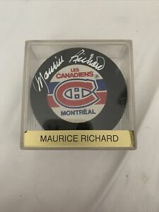 Maurice Richard Autographed Signed NHL Hockey Puck Montreal Canadiens