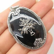 Vtg Sterling Silver Real Marcasite Gemstone Enamel Floral Design Locket Pendant