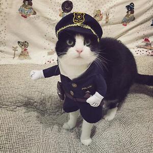 Funny Puppy Dog Cat Clothes Police Officer Uniform Cosplay Costume Party Dress