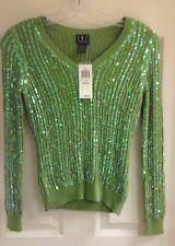 """INC PETITE , Women's size PP, green sequin sweater, """"lucky"""", silk blnd NWT $99"""