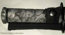 GRAY ZOMBIE PRINT SURVIVAL KNIFE with COMPASS, MATCHES, HOOK & LINE