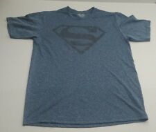 DC Comics Men's Superman Blue/Gray Logo Shield T Shirt Medium NEW