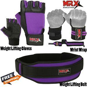 Weight Lifting Belt Gym Training Gloves Wrist Bandage Wraps Pair Purple 3pcs Set