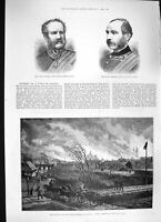Old Antique Print 1886 Fire Stry Lemberg Galicia General Chute Sir White 19th