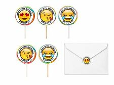 30 Emoji Birthday Stickers Lollipop Labels Party Favors 1.5 in PERSONALIZE ANY