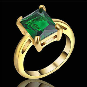 Woman's Size 7 Green Emerald yellow Rhodium Plated Wedding Fashion Ring