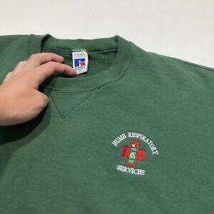 Vintage 90s RUSSELL ATHLETIC Blank Green Crewneck Sweatshirt 2XL Oxygen