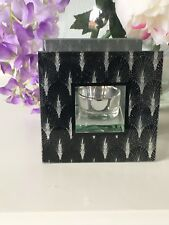 Art Deco Black Silver Sparkle Mirror Glass Tealight Holder