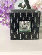Art Deco Black Silver Sparkle Mirror Glass Tealight Holder