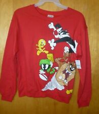 New Juniors M (7-9) Red Sylvester Looney Tunes Soft Lightweight Sweatshirt