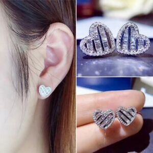 14K REAL WHITE GOLD FILLED HEART STUD EARRINGS MADE WITH SWAROVSKI CRYSTALS WG11