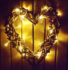 Rustic Wooden Heart Wicker Wreath with LED Fairy Lights Home Wedding Christmas
