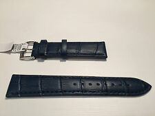 New - Blue Leather Strap - 20 mm - Correa Piel Azul - Bolle Alligator Calf